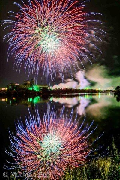 Салют на Семёновском озере на 97-летие города Мурманска